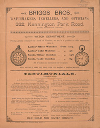 Advert For Briggs Brothers, Watchmakers, Jewellers & Opticians